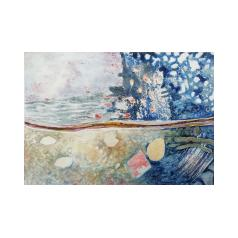 small painting, seascape, rock pools, water, turbulence, Cornish landscape